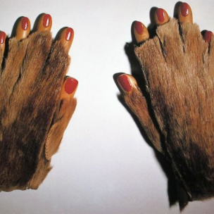 Meret Oppenheim, Fur gloves with wooden fingers, 1936