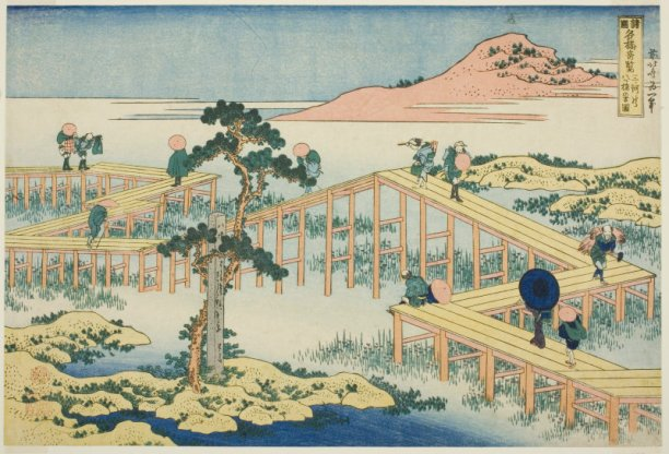 Hokusai, Old View of the Eight-part Bridge at Yatsuhashi in Mikawa Province, 1834