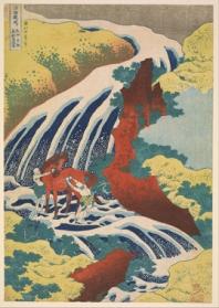 Hokusai, waterfall where Yoshitsune washed his horse, Yoshino, Yamoto Province, 1833