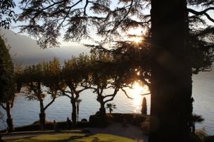 Villa del Balbianello, view on lake in the evening