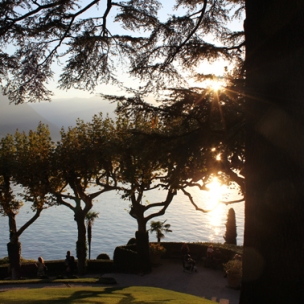 Villa del Balbianello, view on lake in the evening